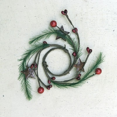 Candle Ring - Red Pip Berry (Large & Small) with Pine & Rusty Stars - 1.5""