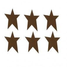 "Brown Rustic Look Tin Star - 1"" - 6/pkg"