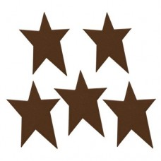 "Brown Rustic Look Tin Star - 1-1/4"" - 5/pkg"